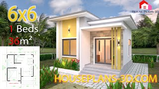 Small House Plans 6x6 Meters With One Bedroom Flat Roof 20x20 Feet