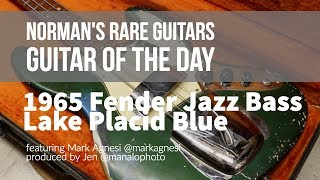 normans rare guitars guitar of the day 1965 fender jazz bass lake placid blue