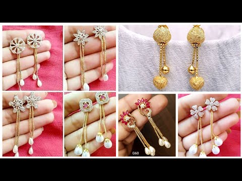 Top Beautiful And Latest Gold Earrings Designs With Rhinestone And Ruby