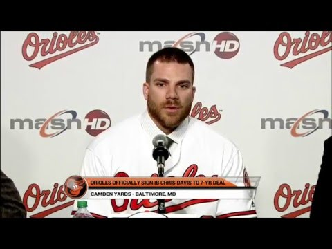 Chris Davis addresses the media after re-signing with the Orioles