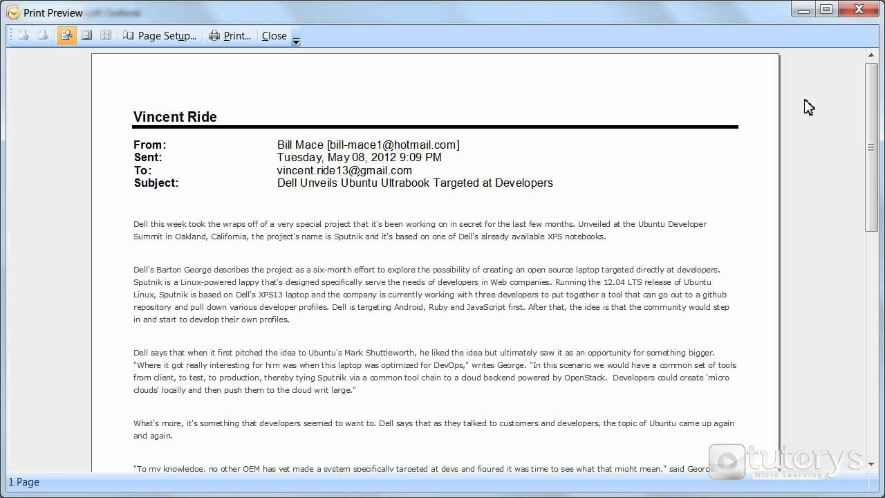 how to print an email with outlook 2007