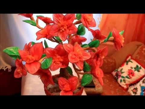 Цветы из мусорных пакетов своими руками видео