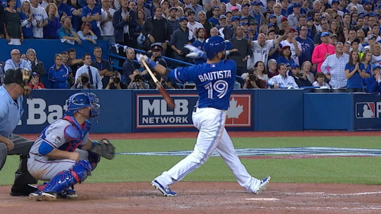 Jose Bautista Hammers Go Ahead Three Run Shot In Alds Game 5 Delivers Epic Bat Flip