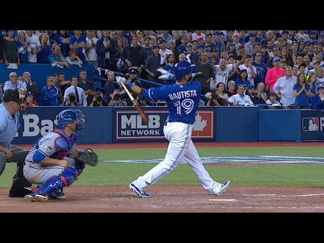 10/14/15: Jose Bautista crushes a long go-ahead three-run homer in the 7th inning of ALDS Game 5