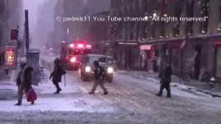 FDNY Fire truck responding in snow New York blizzard 2015 HD ©