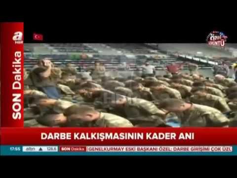 Patriotic Turkish soldiers arrest coup soldiers at large Ankara army base