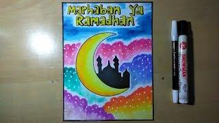 Menggambar poster marhaban ya ramadhan