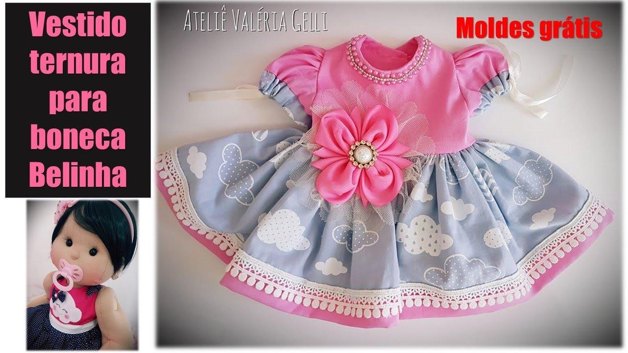 Vestido Ternura boneca Belinha, roupinha para boneca