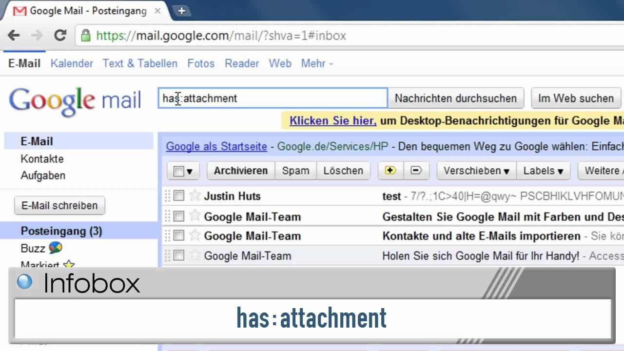 Google Mail: Mail mit Anhang finden - YouTube
