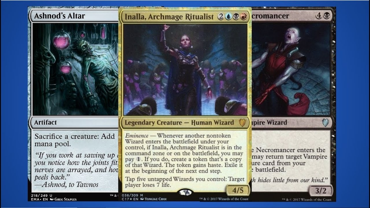 MTG Infinite Combo: Inalla, Archmage Ritualist + Bloodline Necromancer +  Ashnod's Altar