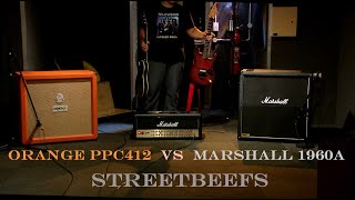 Orange PPC412 vintage 30 vs Marshall 1960a g12t-75 and as full stack