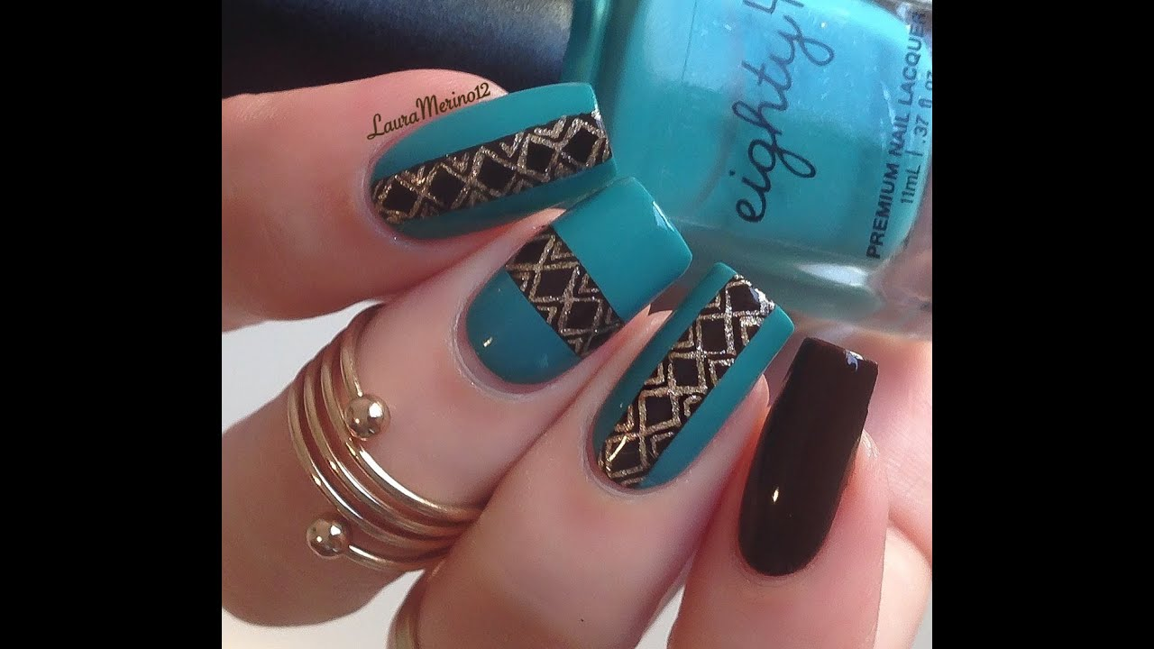 Turquoise brown nailart tutorial youtube prinsesfo Image collections