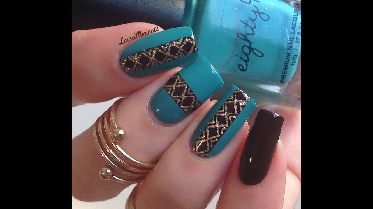 Turquoise & Brown Nailart Tutorial - YouTube