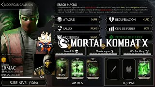 Mortal Kombat X Android Level Up / Subiendo de nivel Ermac Klasico