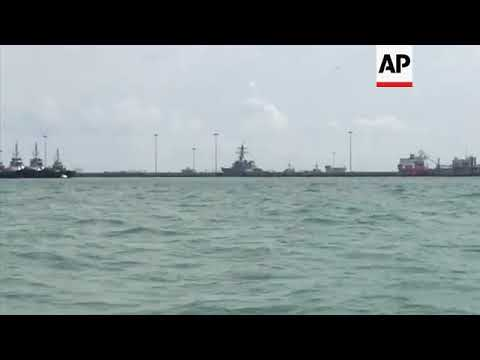 Damaged USS John S McCain at US base in Singapore