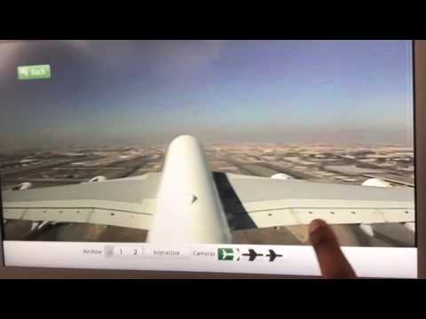 Super Jumbo A380 Emirates takeoff from DXB airport- Tail Camera View - Rare