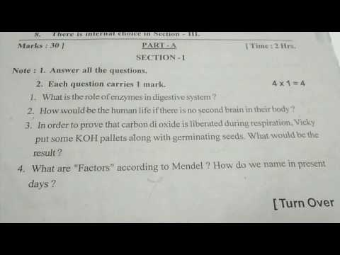 10 th class public exam biology model paper useful for exam