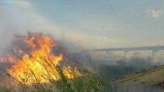 Ужасный Пожар в Костанае. Горит железнодорожный Мост!