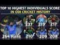 Top 10 Highest Individual Score by Batsman in ODI Cricket History | Highest Individual Score  in Odi