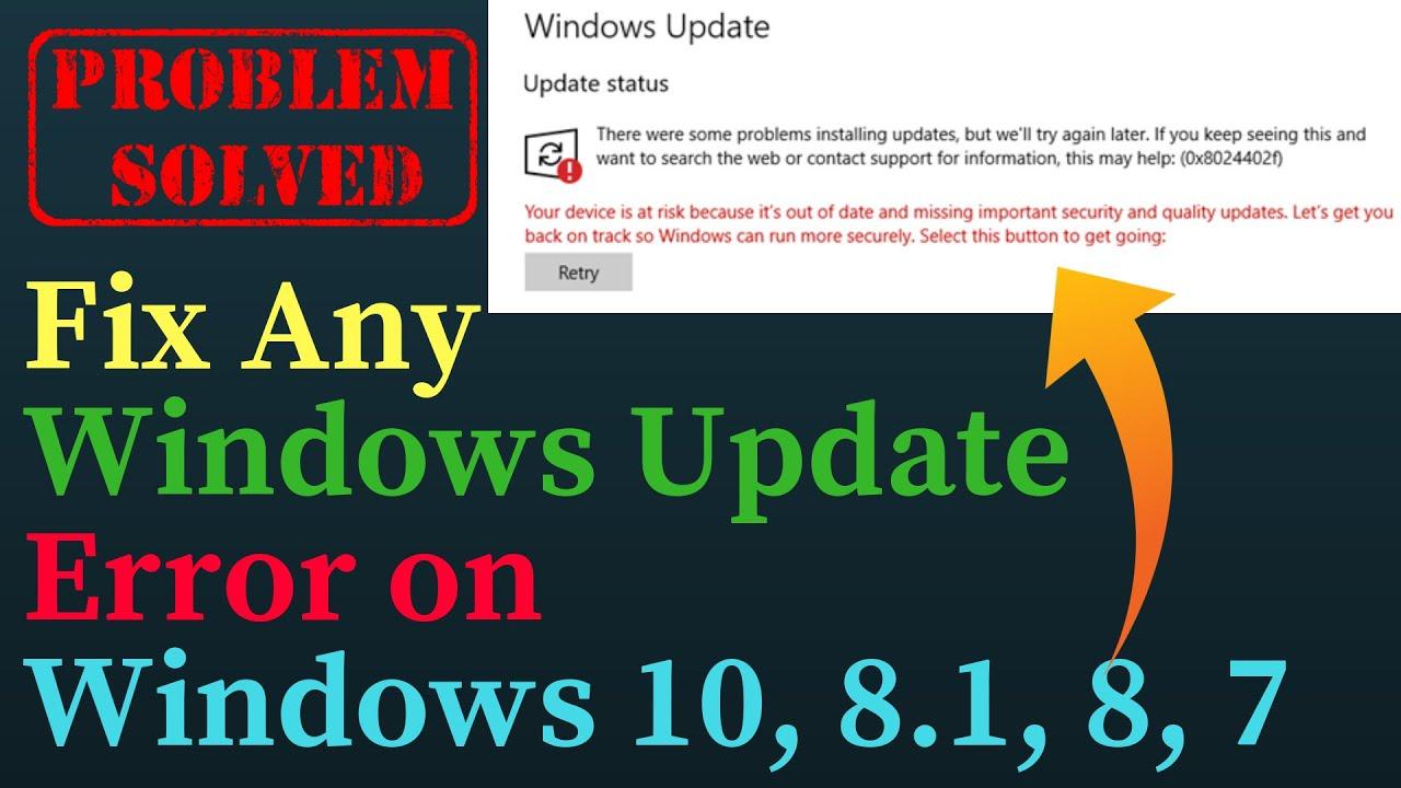 Fix Any Windows Update Error on Windows 10, 8 1, 8, 7