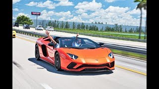 Driving Lamborghini Aventador S Roadster Screaming V12 BULLS Epic test Drive from Lamborghini Miami