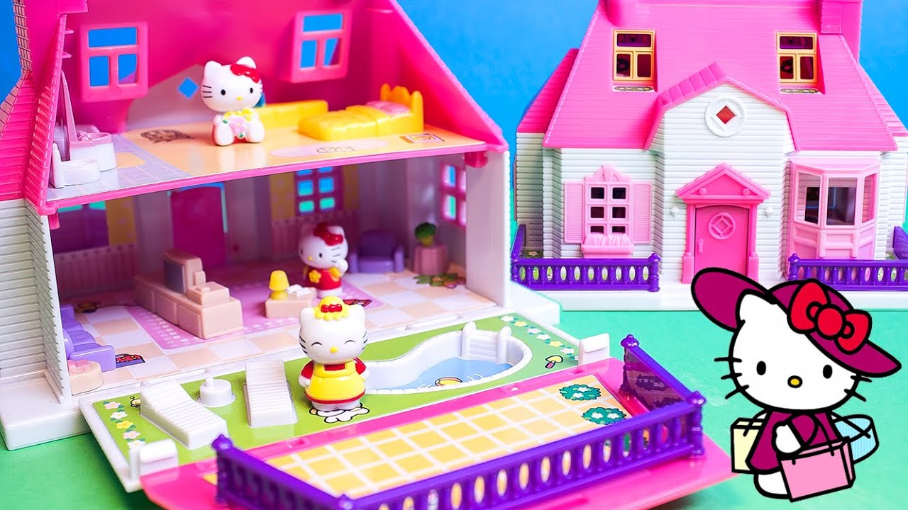 Hello kitty mini doll house carry along play set casa de - La casa de kitty ...