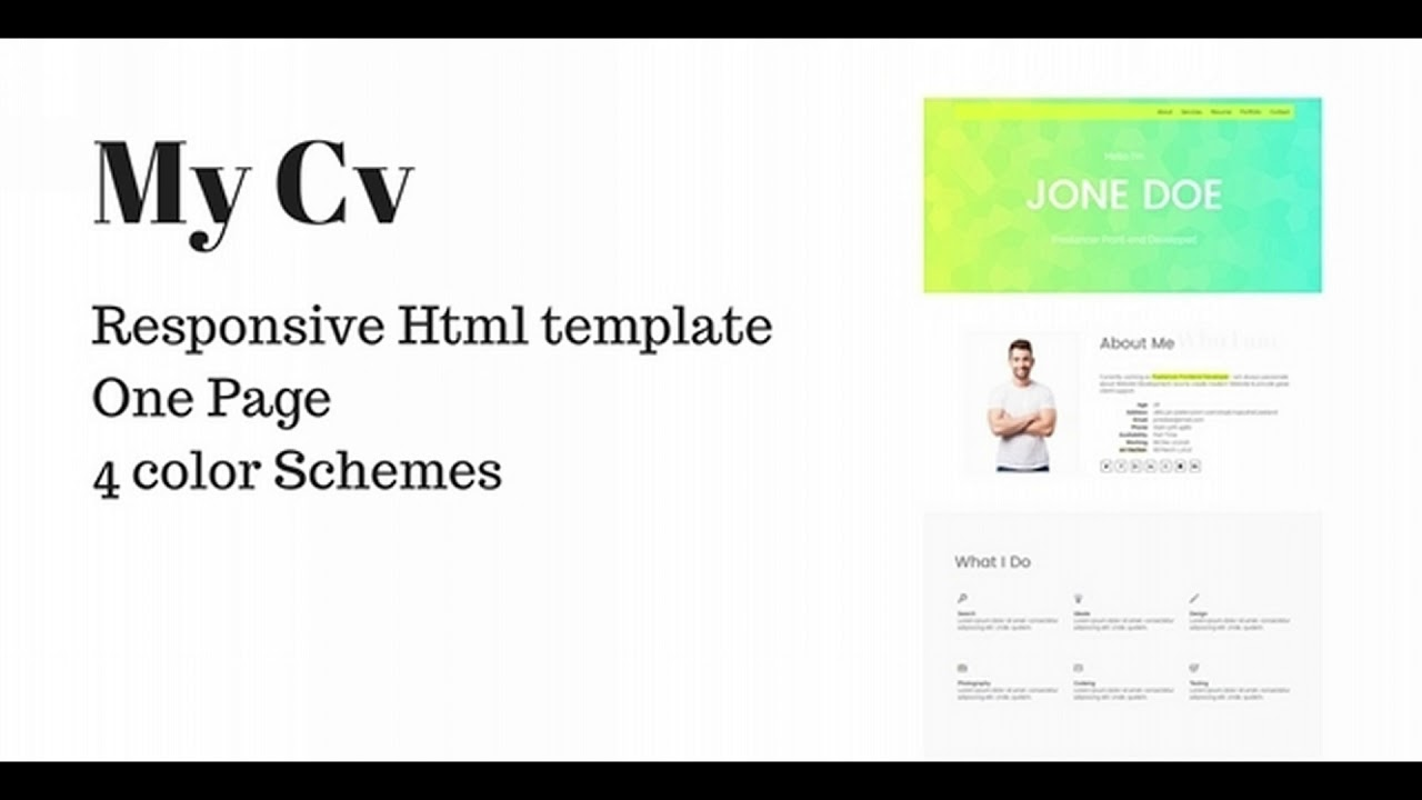 responsive one page vcard portfolio or resume template