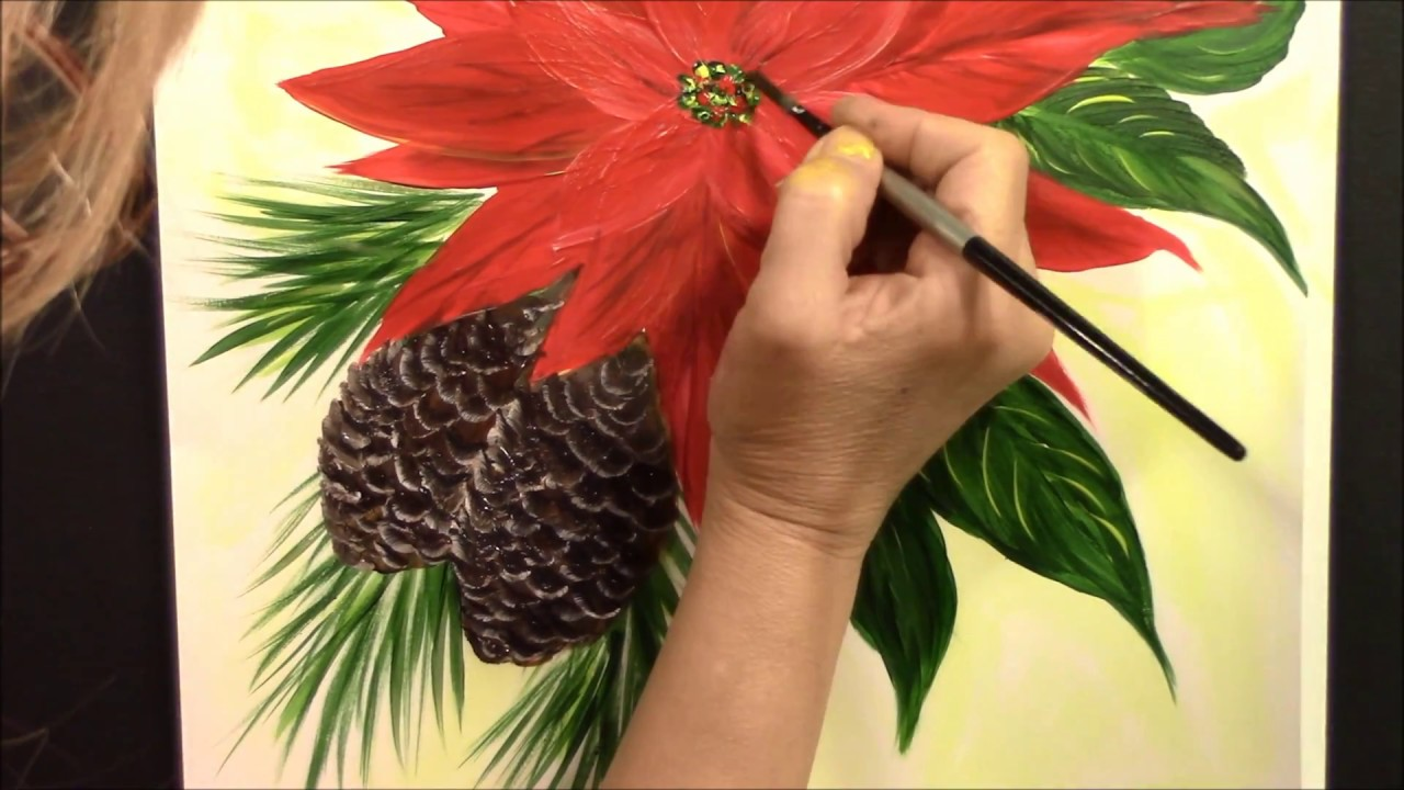How to paint easy Poinsettia and Pine Cones  Acrylic