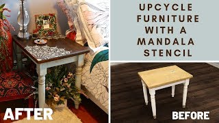 How To Upcycle Wood Furniture On A Budget With A Trendy Mandala Stencil