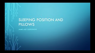 Sleeping position and pillows   youtube