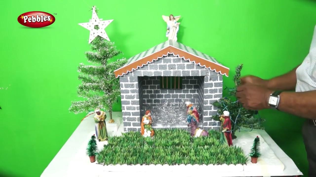 How To Make Easy Christmas Crib Nativity Scene Christmas Crib Making In Malayalam Type 1 Youtube