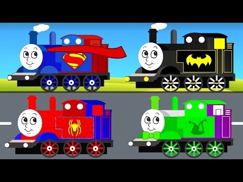 Thumbnail: THOMAS TRAIN for Kids & Superman Batman Spiderman Cars Cartoon for Children w Colors for Toddlers