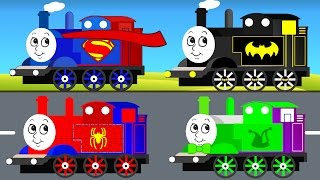 THOMAS TRAIN For Kids & Superman Batman Spiderman Cars Cartoon For Children W Colors For Toddlers