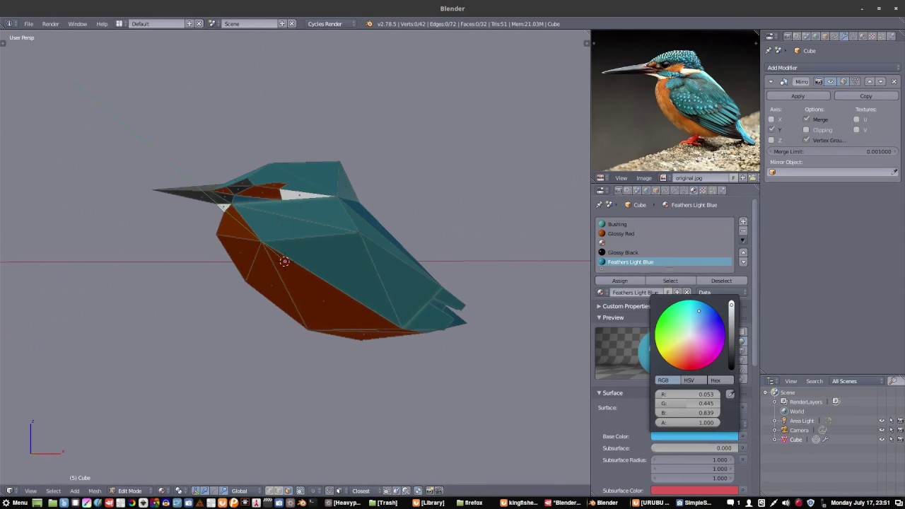 Low Poly Kingfisher Timelapse using Free Software