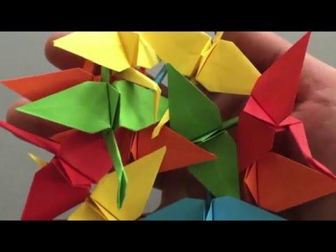 Flatternden Origami-Kranich falten in 6 Minuten