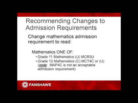 Data Analysis for Fanshawe Pre-Health Science Math Admission Requirements