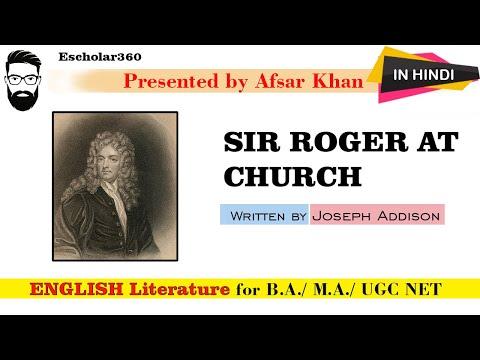 Sir Roger at Church by Joseph Addison explain in Hindi and English