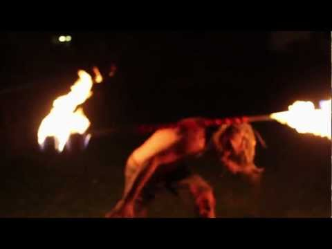 Clayton Allred Awesome Fire-Staff Spinning |(the attic ft. oh laura -release me)