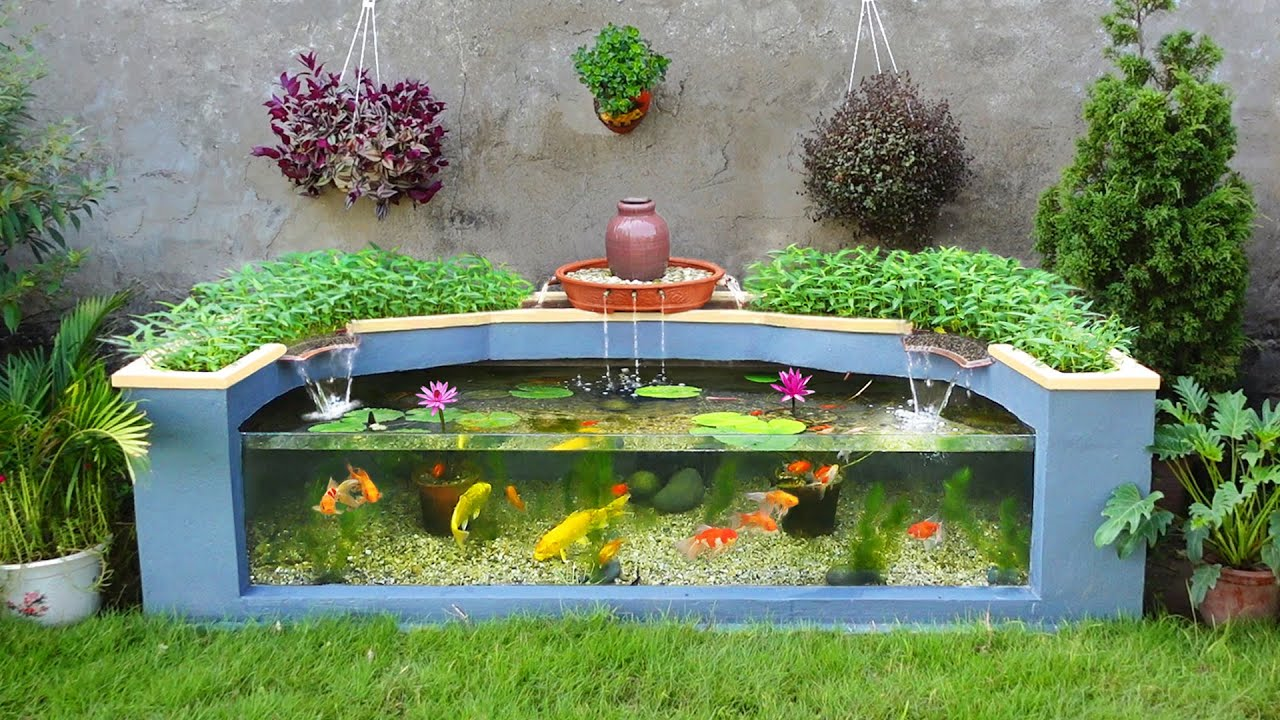 The Secret to make aquarium combined with growing clean Vegetables / Garden decoration ideas