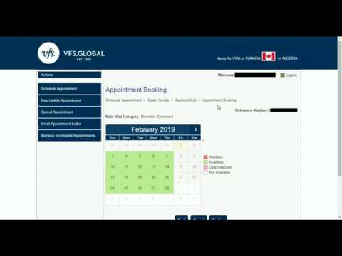 RDV VISA CANADA VFS GLOBAL 2019