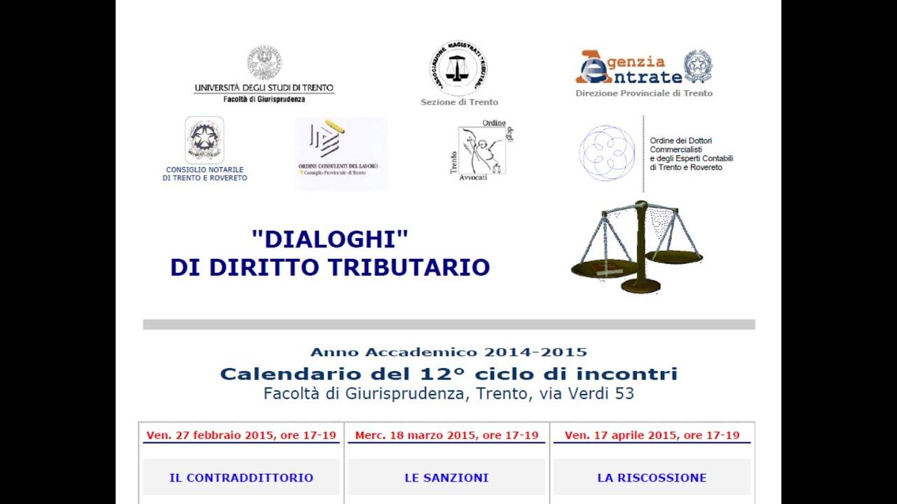 Unitn Calendario Accademico.Il Contraddittorio 27 Febbraio 2015 Dialoghi Di Diritto Tributario A A 2014 2015