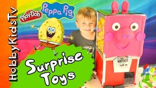 Play-Doh Peppa Pig TOY Gumball Machine! Surprises + Makeover, Chocolate SpongeBob Egg HobbyKidsTV