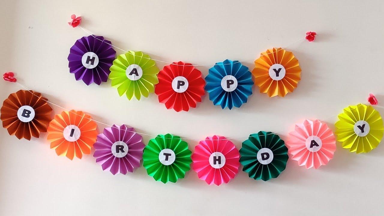 How To Make Birthday Banner Diy Diy Birthday Banner Birthday Decoration Ideas Youtube