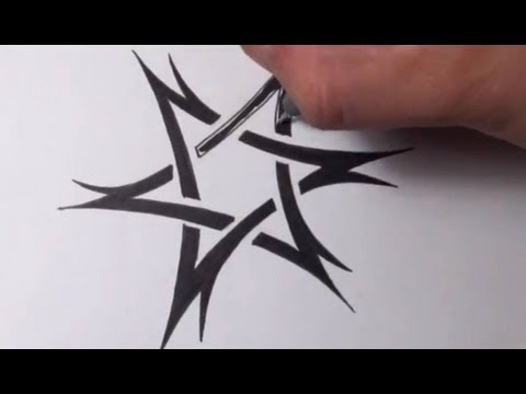 Drawing a Tribal Star of David Tattoo Design - Quick Sketch