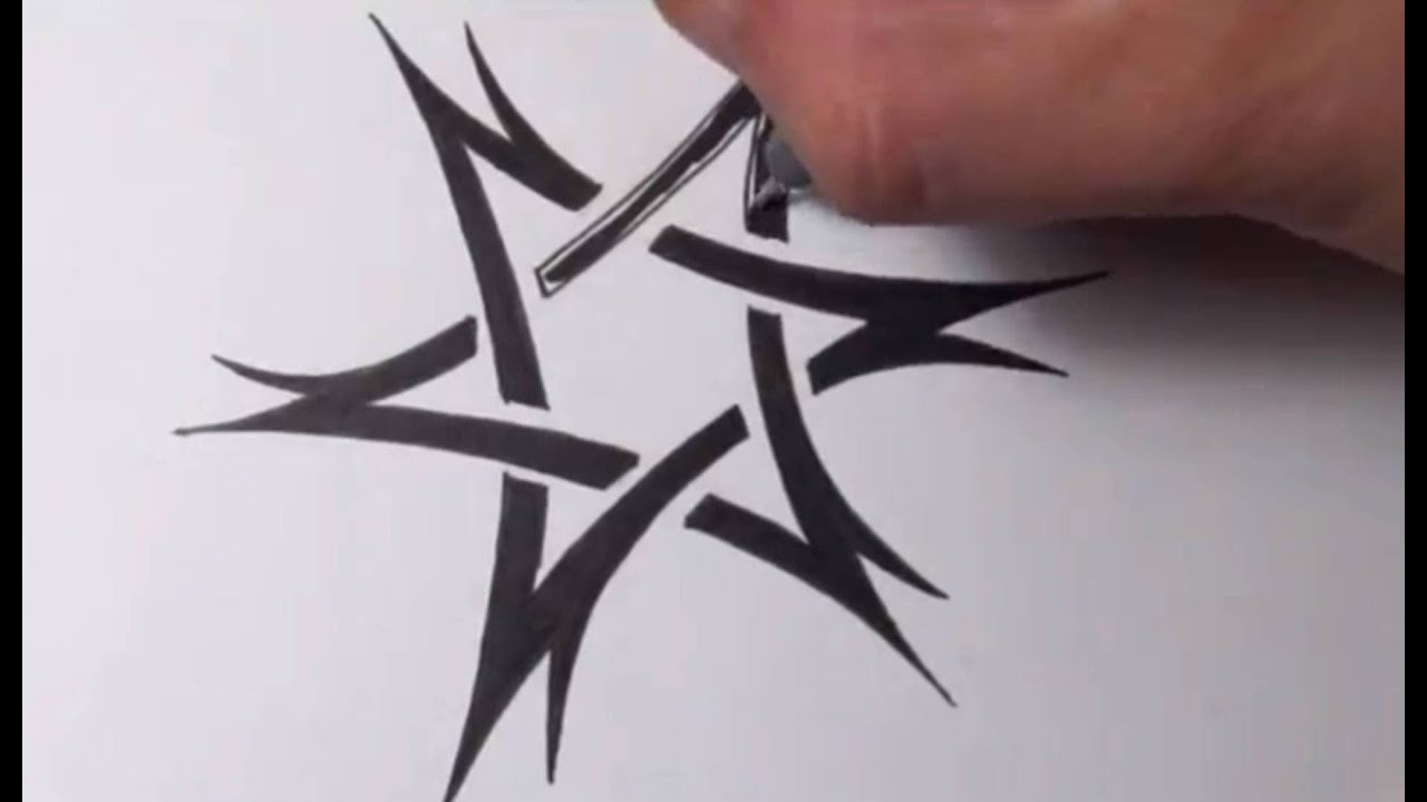 drawing a tribal star of david tattoo design quick sketch youtube. Black Bedroom Furniture Sets. Home Design Ideas