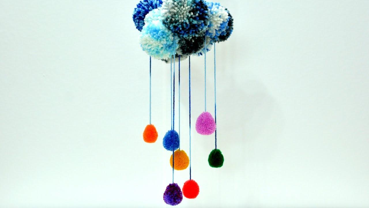 Pom Poms Rainbow Rain Cloud Yarn Wall Decoration Art Craft