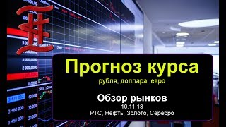 Смотреть видео Прогноз курса рубля доллара.  Обзор рынка 10.11.18 РТС, нефть, рубль, доллар, евро, золото, серебро. онлайн