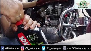How to flush oil and change it in Royal Enfield & all bikes