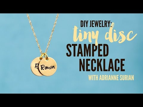 Hand Stamped Jewelry | Tiny Brass Disc Charm Necklace Mp3