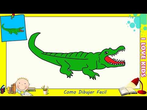 Como dibujar un cocodrilo FACIL paso a paso para niños y principiantes 2